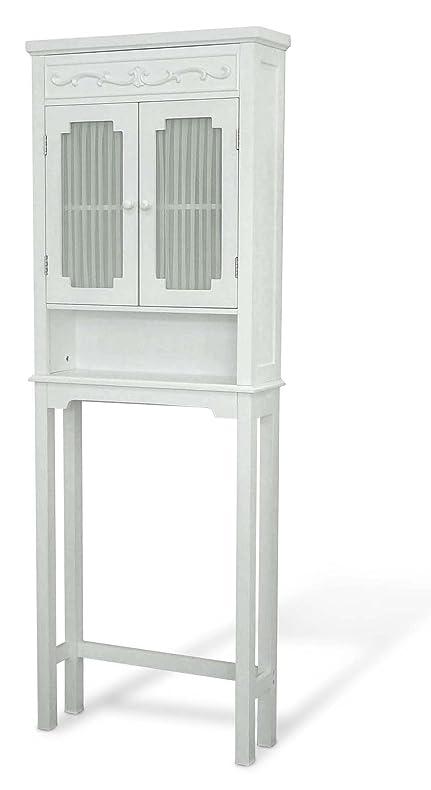 Elegant Home Fashions Lisbon Collection Shelved Bathroom Space Saver White