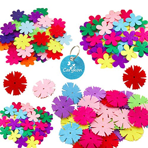 Carykon 3 Styles Craft Felt Flowers, Assorted Color, 160 (Felt Flowers)