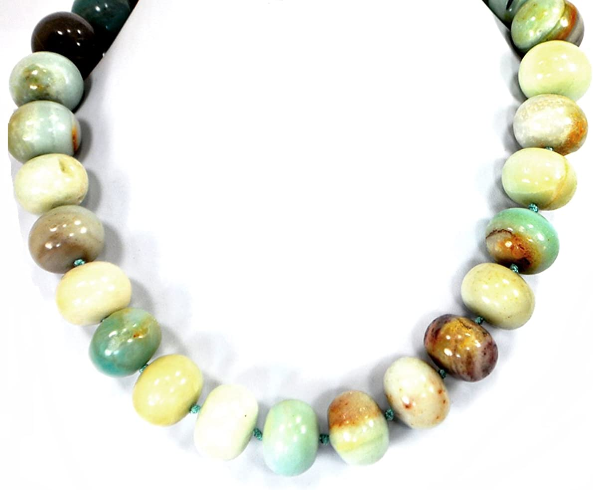 Amazonite and sterling beaded necklace with adjustable sterling toggle clasp