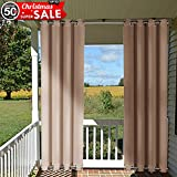 gazebo curtains amazon Outdoor Curtain Panel for Patio - NICETOWN Versatile Thermal Insulated Top and Bottom Grommets Blackout Outdoor Drape for Front Porch, Wind Break Drapery(52 Inch Wide by 108 Inch Long, Tan-Khaki)