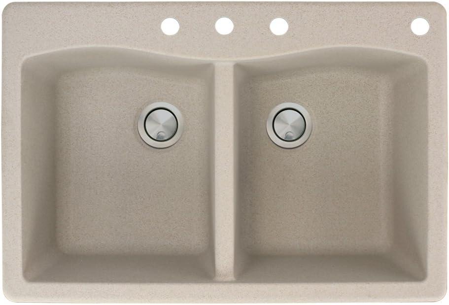 Transolid ATDE3322-16-CBDE Aversa Granite 4-Hole Drop-in Double-Bowl Kitchen Sink 33-in L x 22-in W x 9-in H Cafe Latte