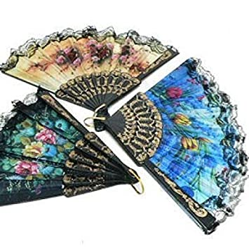 spanish floral folding hand fan size 9 1 dozen 12 pieces by 21 fans - Decorative Fans