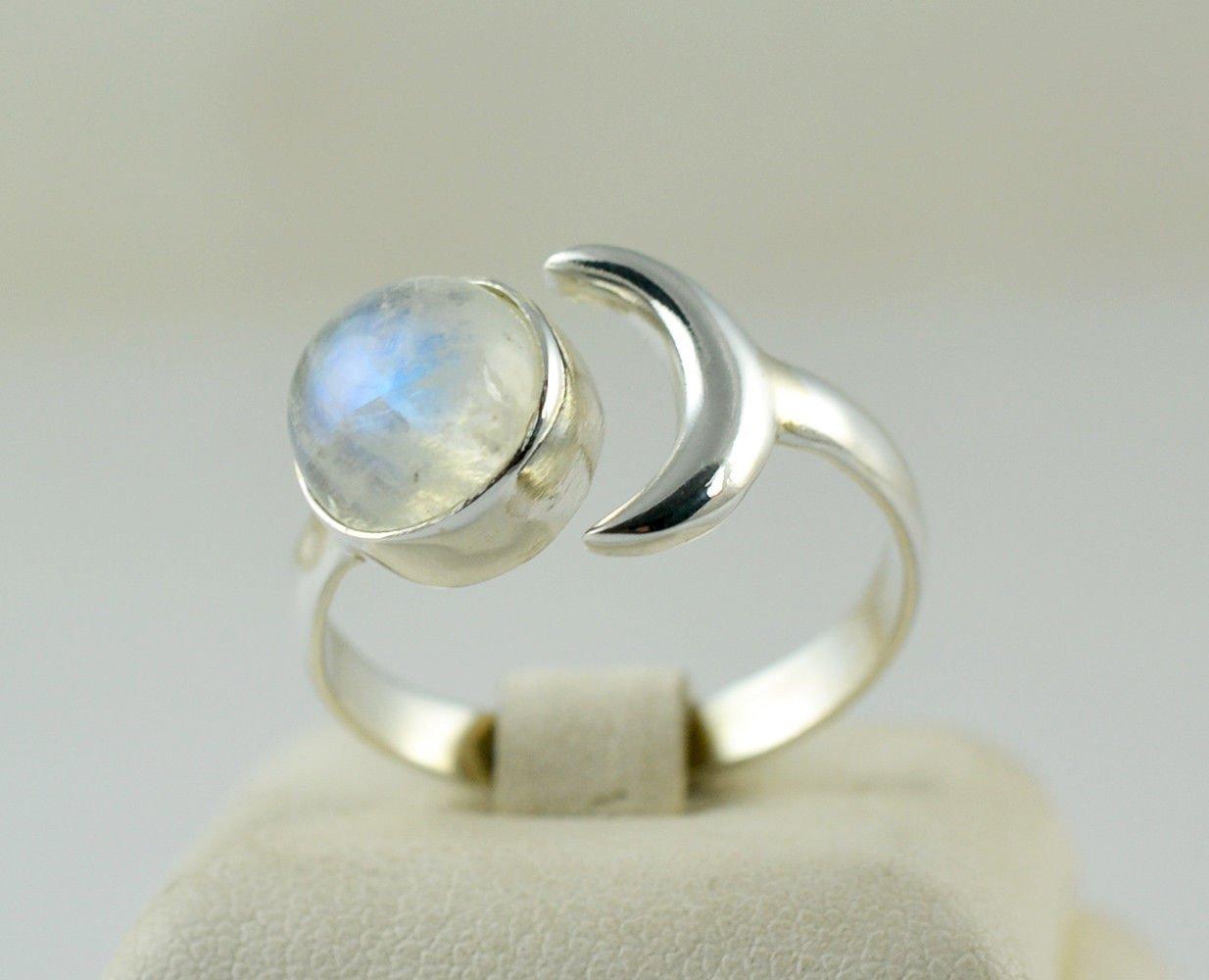pietra di luna arcobaleno gioielli fatti a mano anello in argento Anello in argento con pietra di luna arcobaleno anello in pietra di luna dimensioni dal 6 al 31 argento sterling 925