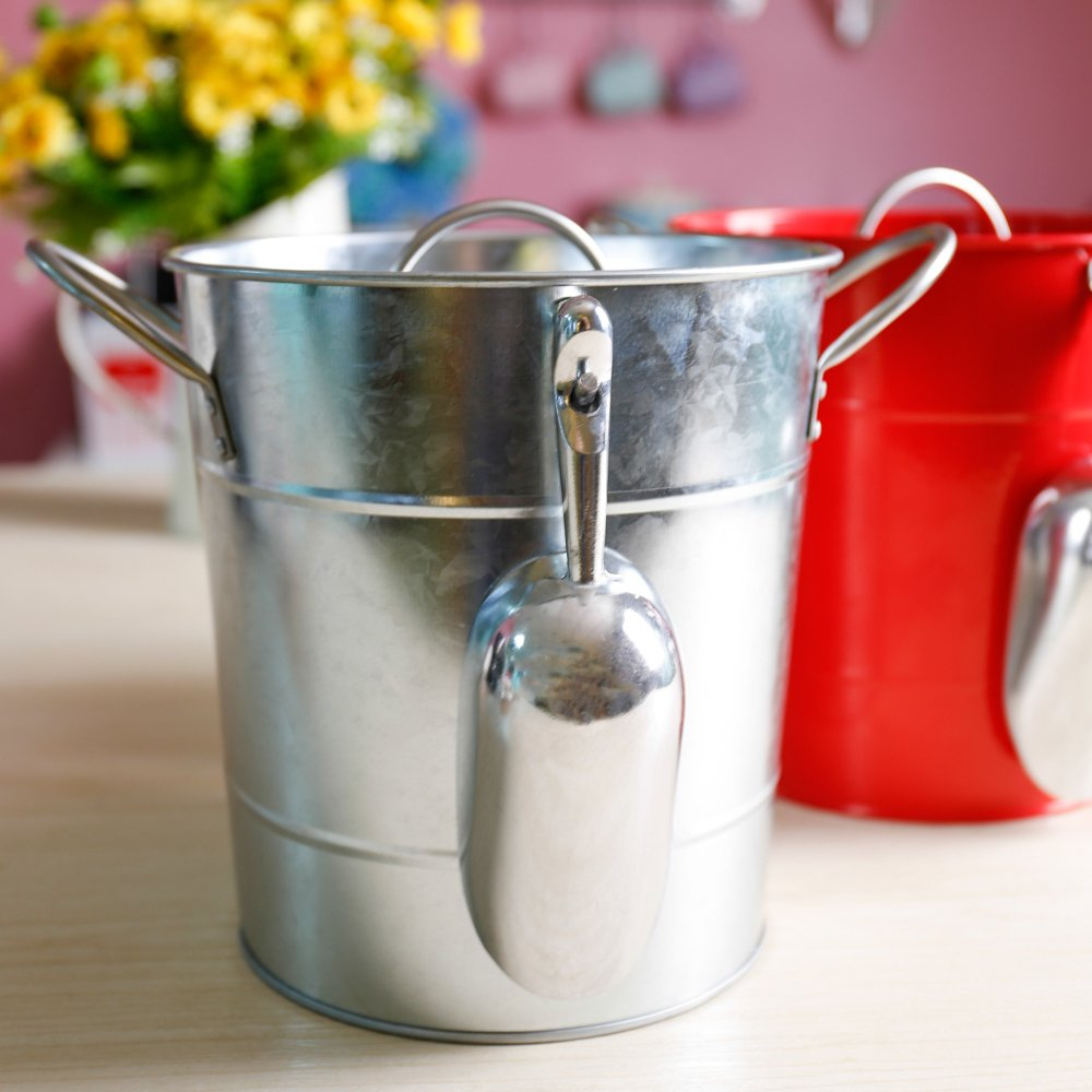 Hot Sale T586 4L Silver Metal Galvanized Double Walled Ice Bucket Set With Lid And Scoop by Home by Jackie Inc (Image #4)