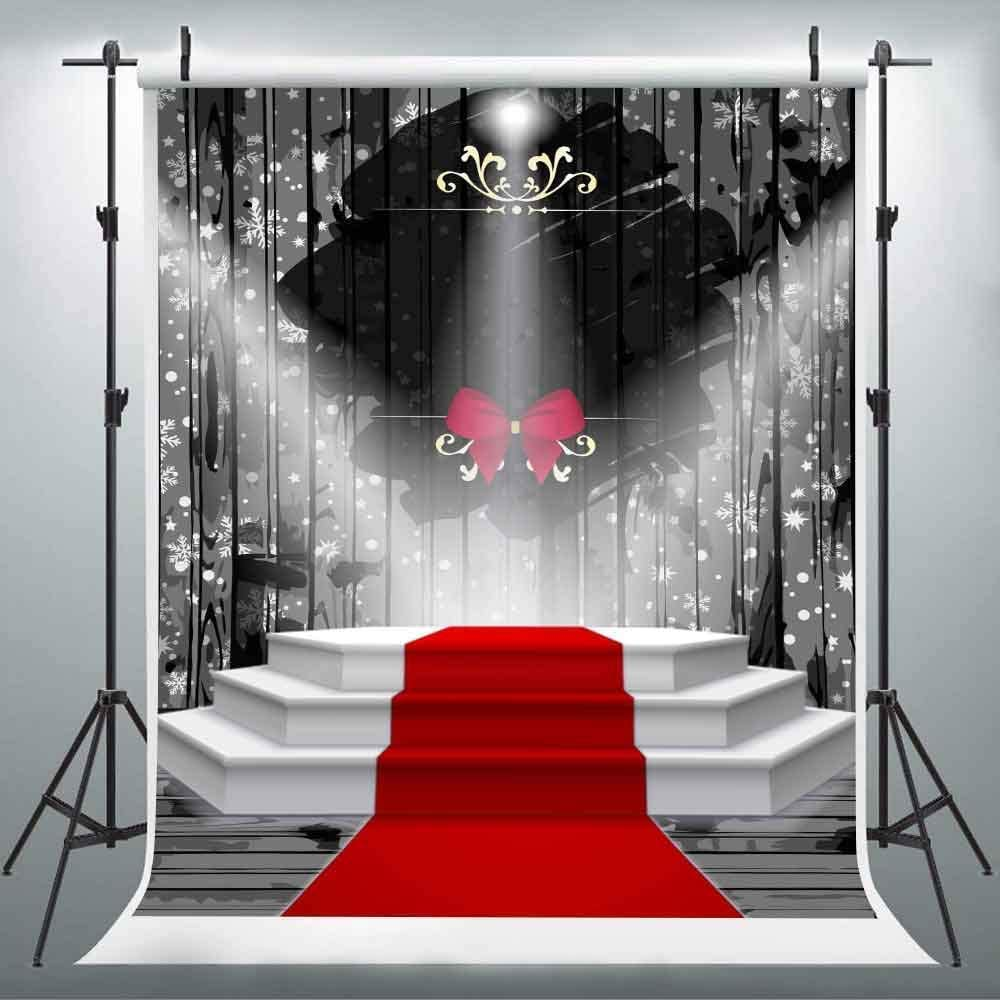 CdHBH 10x12ft Red Carpet Stage Background Black Curtain Bow Photo Studio Studio Photography Photography Props Wallpaper Home Decoration Festival Venue Party Layout Vinyl Material