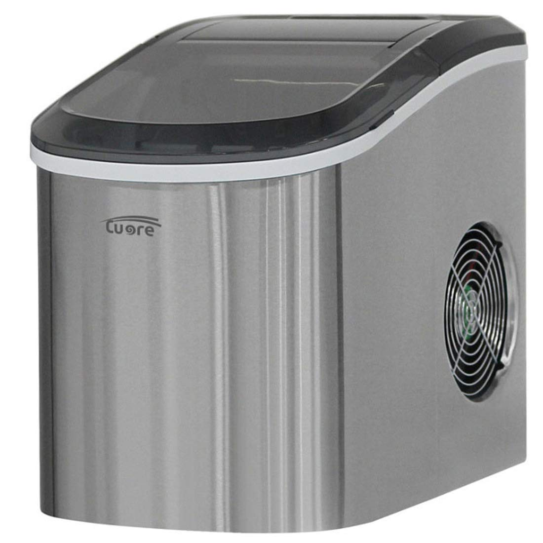Cuore UIM-800SS Electric Portable Ice Maker Fast Hard Ice Stainless Steel 220V (Silver)