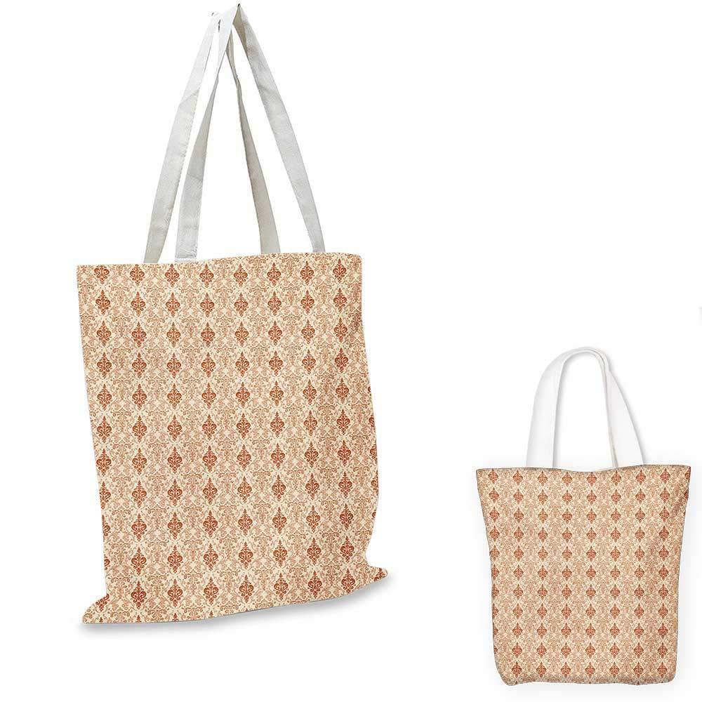 Antique canvas messenger bag Flower Pattern with Rhombuses and Circles Symmetrical Composition canvas beach bag Pale Orange Black White 12x15-10