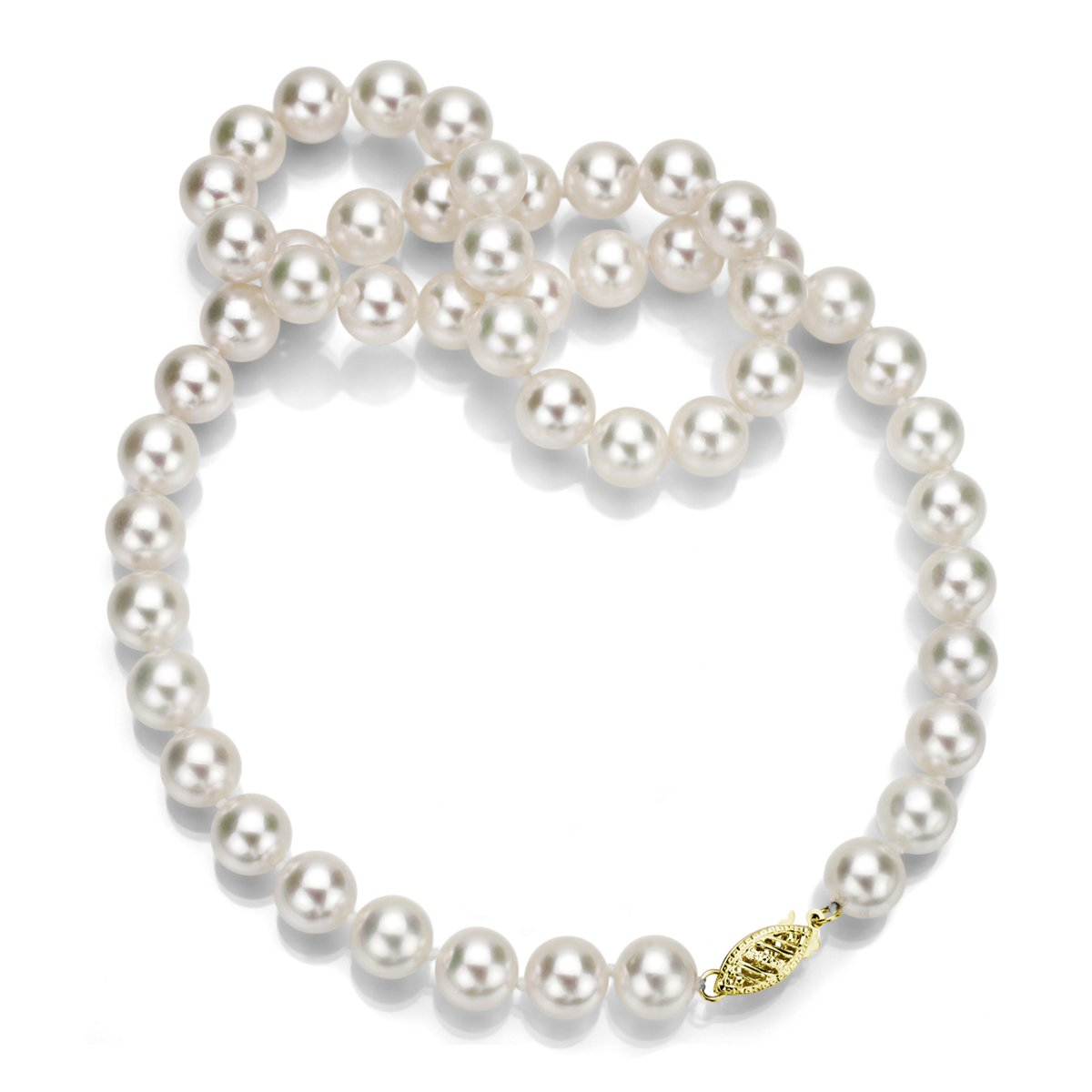 14k Yellow Gold 7.5-8mm AAA Handpicked White Japanese Akoya Cultured Pearl Necklace, 24''