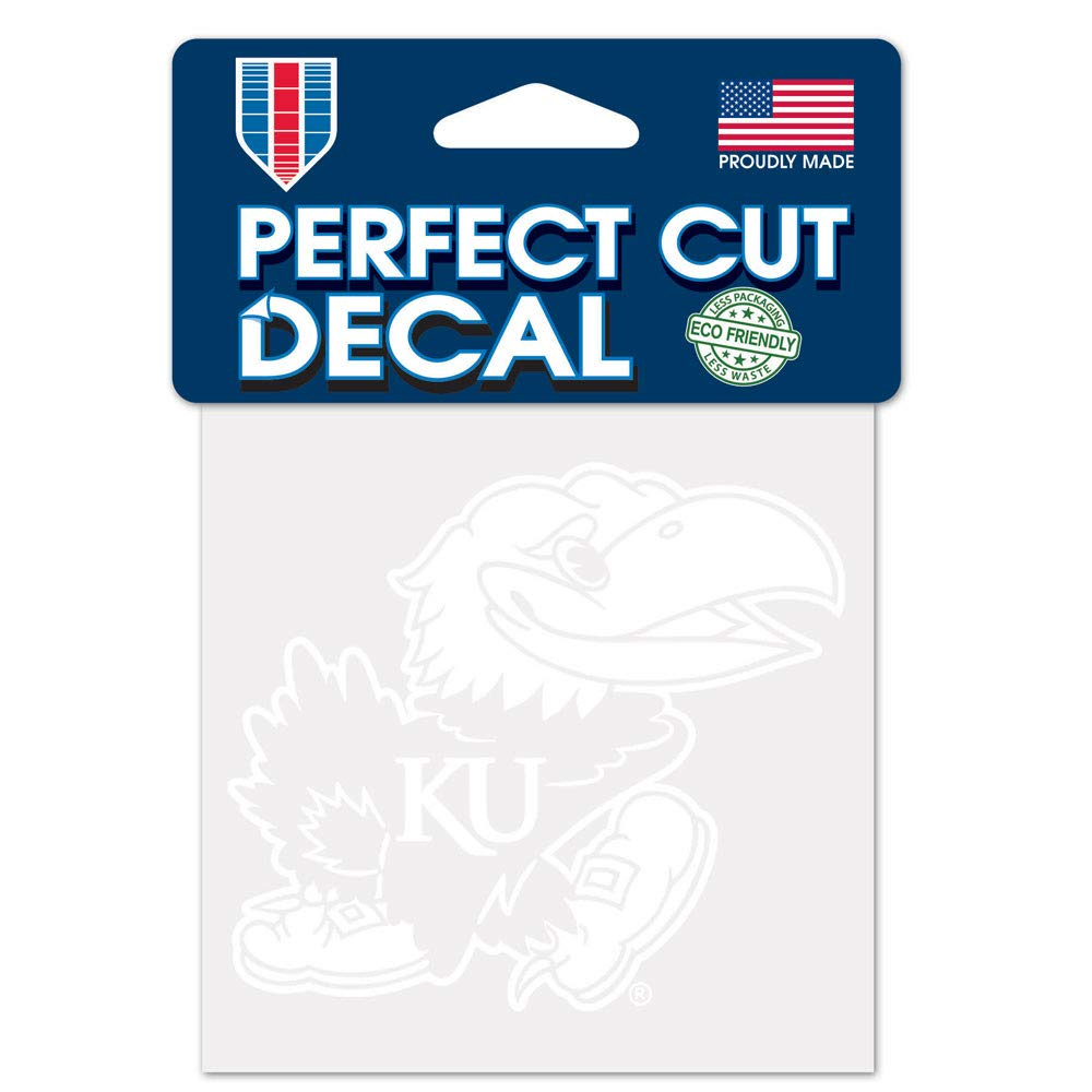 One Size WinCraft NCAA Kansas Jayhawks 4x4 Perfect Cut White Decal Team Color