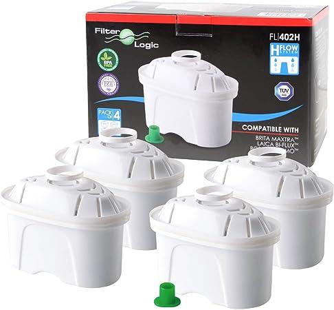 FilterLogic FL402H - 4 unidades - cartucho de filtro compatible con BRITA Maxtra para Elemaris / Marella / Navelia / Fun - Bosch Siemens Tassimo jarra filtrante - 100486 1009696: Amazon.es: Hogar