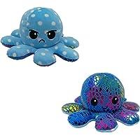 Schattig octopus-pluche speelgoed, dubbelzijdig, flip-octopus-pop, zacht, omkeerbaar, toon je stemming zonder een woord…
