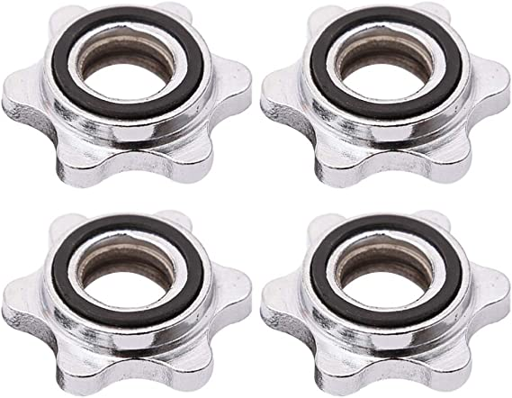 4pc Dumbbell Spinlock Collars Weight Check Nut Barbell Bar Clips Spin Lock Screw