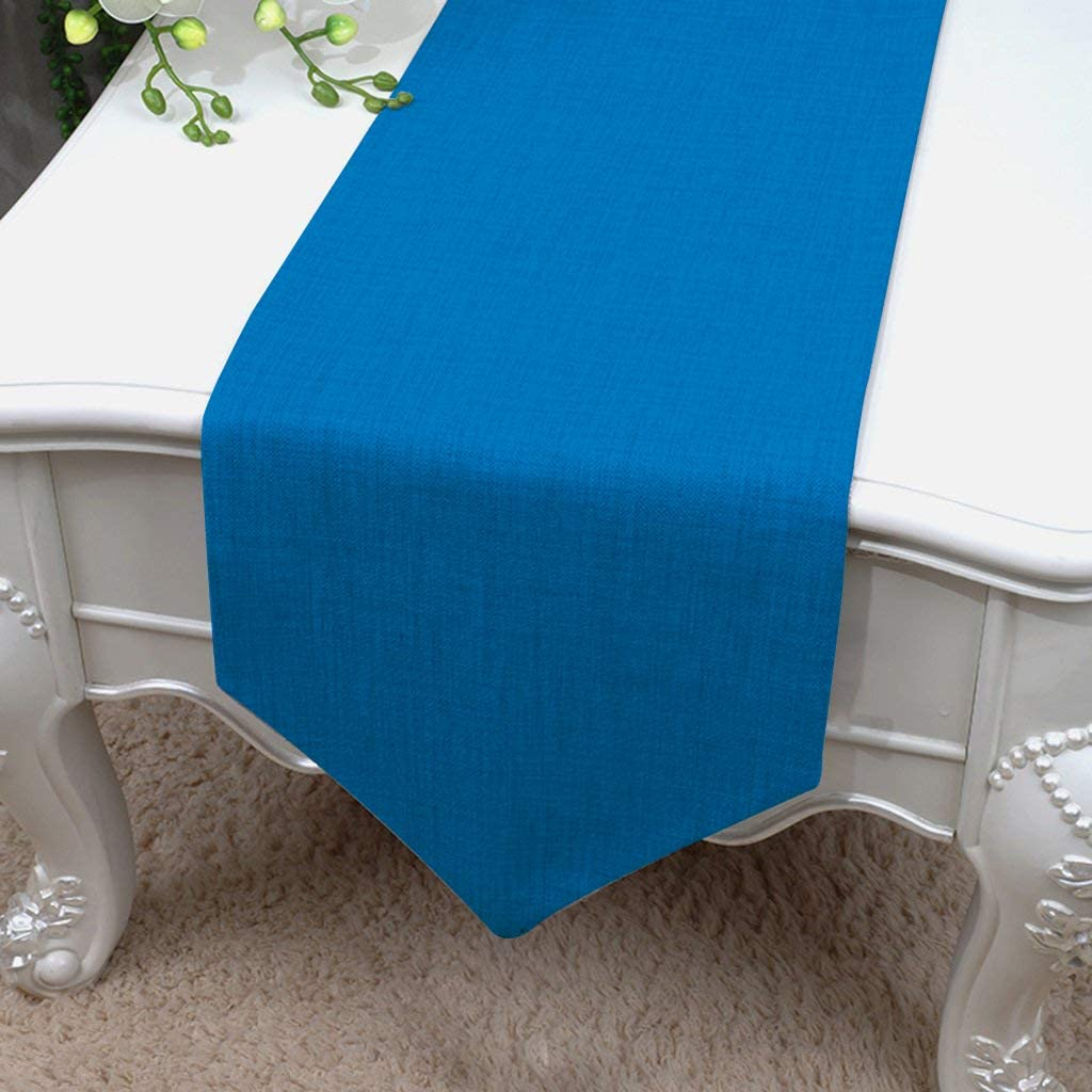 Essencea Faux Silk Table Runner V-End Seamless Solid Elegant Classic Table Top Decor- Ideal for Everyday Use | Party Decor | Wedding | Baby Shower | Special Occasions (13 x 72 Inches, Slate Blue)…