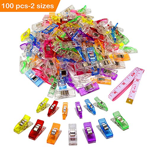 100 Pack-2 Sizes Sewing Clips Multicolor for Sewing Craft Clamps,Crafting,Crochet and Knitting,All Purpose Clips for Quilting Binding Clips,Fabric Clips,Paper Clips,Blinder Clips -