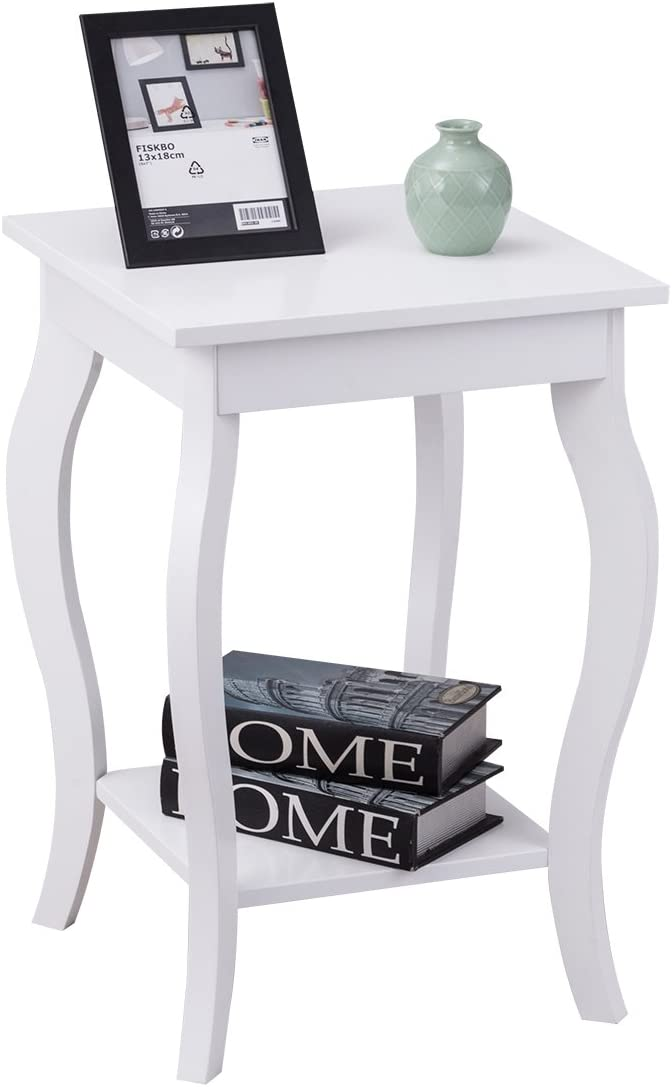 Giantex End Table 16 W Storage Shelf Curved Legs Home Furniture For Living Room Accent Sofa Side Table Nightstand 1 White Kitchen Dining