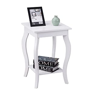 """Giantex End Table 16"""" W/Storage & Shelf Curved Legs Home Furniture for Living Room Accent Sofa Side Table Nightstand, White (1)"""