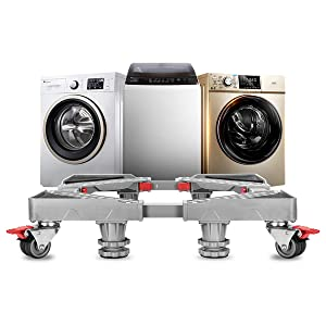 Adjustable Refrigerator Stand Portable Washer Dryer Stand Roller Washing Machine Dolly Pedestal Base Cabinet with 8 Locking Rubber Casters Wheels