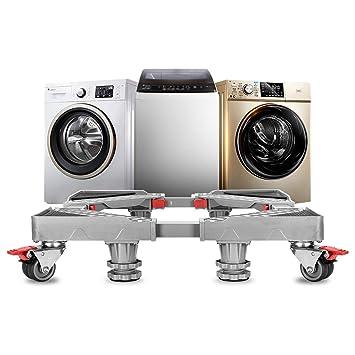 Soporte de frigorífico ajustable portátil lavadora soporte secador rodillos lavadora Dolly pedestal base armario con 8 ruedas de goma de bloqueo: Amazon.es: ...
