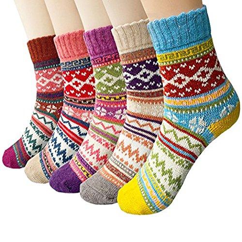 Justay Calze di lana, annata donne calzini per l'inverno 5-pack colori mix NSOCK-S1