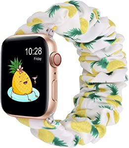 Wolait Compatible with Scrunchie Apple Watch Band 44mm 42mm, Soft Cloth Replacement Elastic Bracelet for iWatch Series SE/6/5/4/3/2/1 Women Girls (Pineapple, 42mm/44mm-M)