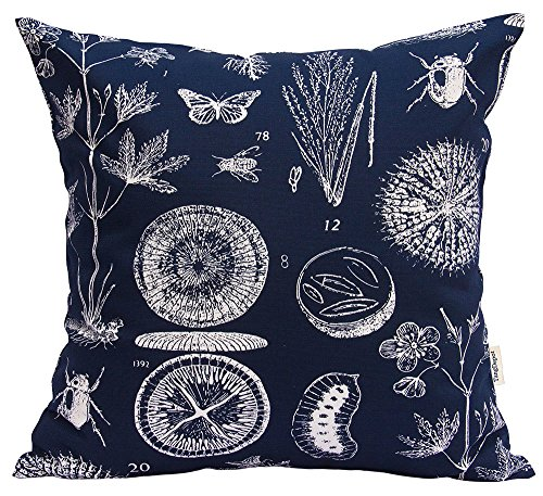 TangDepot 100% cotton nature theme Throw pillow covers, Cushion Covers, Pillows Shells, 10 sizes option - (24x24, N05 Navy Natural)