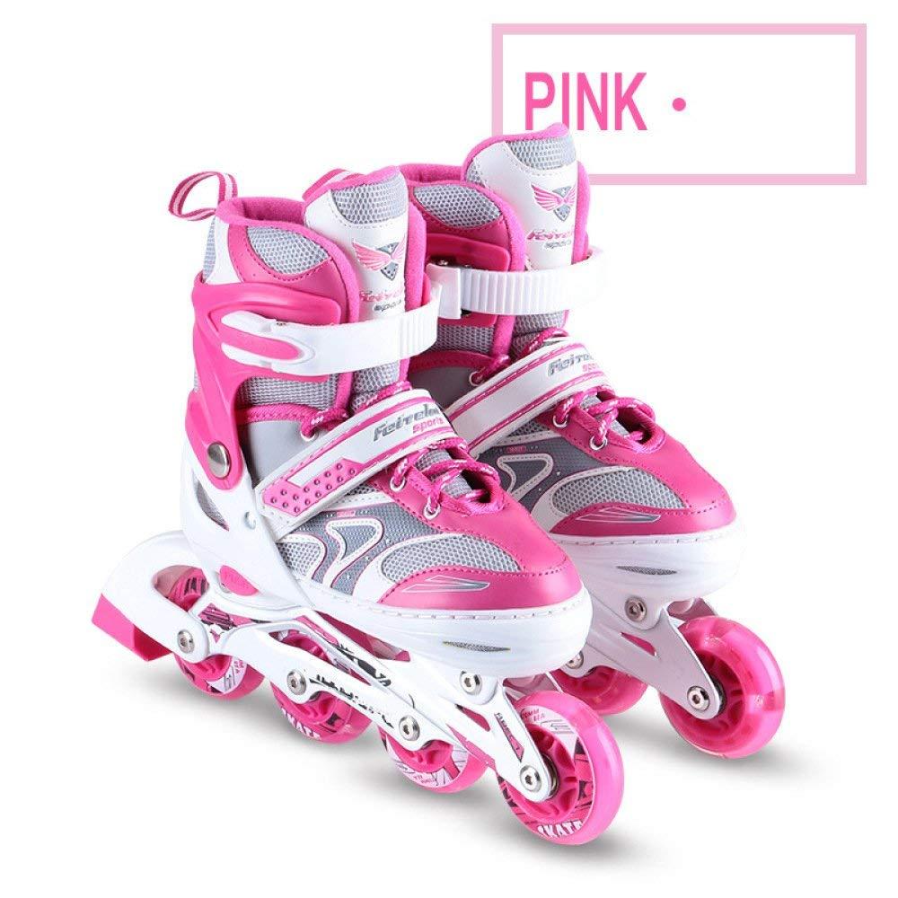 ZYH ローラースケートインラインスケートインラインスケートフルフラッシュ子供調節可能な男性と女性のローラースケート - 子供用ギフト Medium ピンク B07RBLM5XD