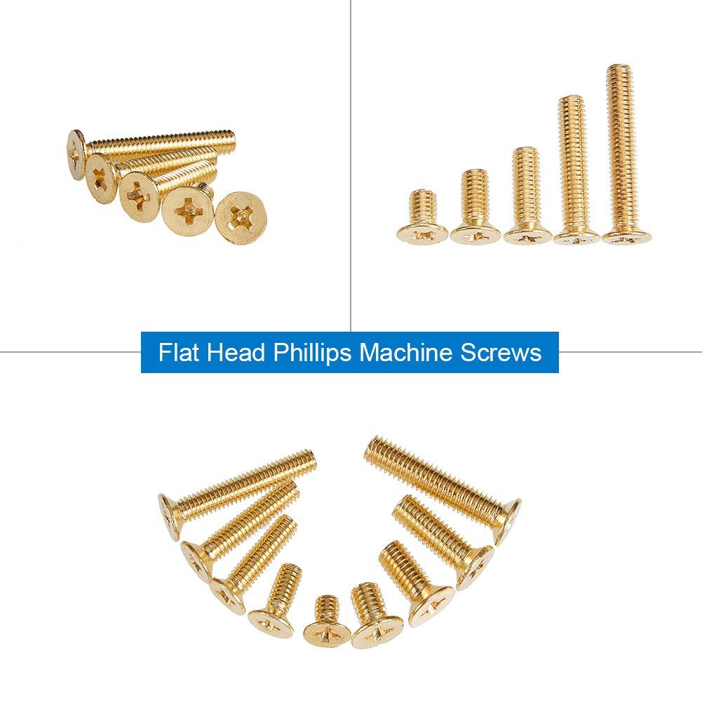 increway 160pcs M4/M5/Messing Phillips Flachkopf Maschinenschrauben Sortiment Kit