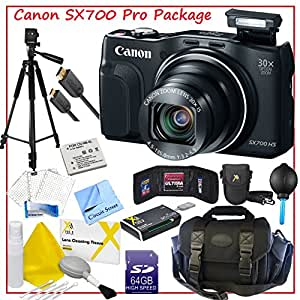 Canon PowerShot SX700 HS Digital Camera (Black), Professional Storage Case, Point and Shoot Case, Full Size 50' Extendable Tripod, Replacement Battery, HDMi Cable, LCD Screen Protector, 64GB SD Memory Card, Memory Storage Wallet, All-in-One Memory Card Reader, Dust Blower, Lens Cleaning Kit and CS Microfiber Cleaning Cloth.