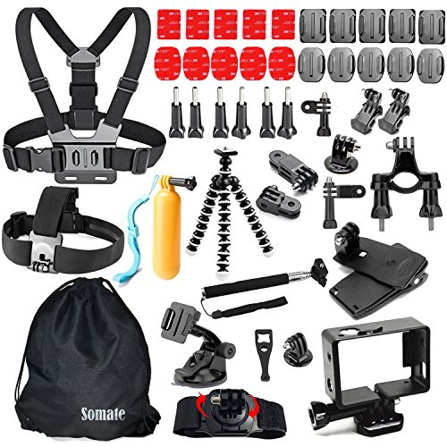 46-In-1 Wifi Action Camera Accessory Kit for Gopro Hero 5 Session 4 3+ 3 2 1 Silver Black, Outdoor Sports Camera Accessories Bundle for SJCAM SJ4000 SJ5000 Akaso FITFORT Lightdow APEMAN Campark