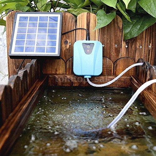 2 Outlet Gang Valve (TONGROU Solar Powered AC DC Aquarium Air Pump Silent Fish Oxygen Pump 2L/min USB 5V P3M6)