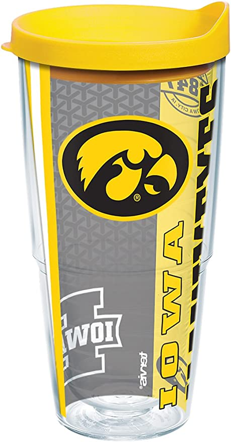 24 oz Clear Tervis 1258252 NCAA Iowa Hawkeyes All Over Tumbler with Lid