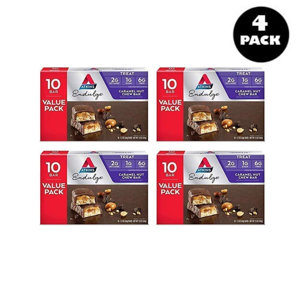 Atkins Endulge Treat, Caramel Nut Chew Bar, Keto Friendly, 40 ct - Pack of 4 by Atkins