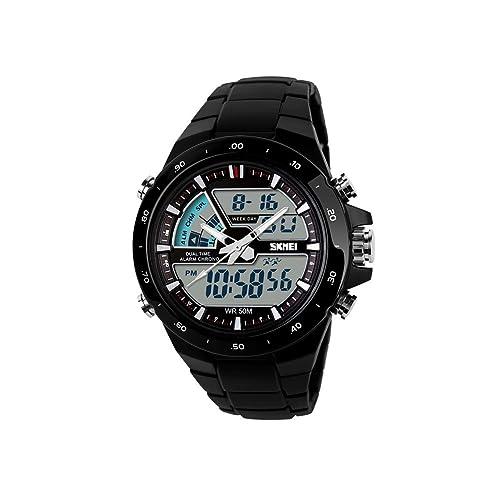 iWatch Hombre Reloj de pulsera 50 m resistente al agua Digital Doble tiempo zonas LED Alarma
