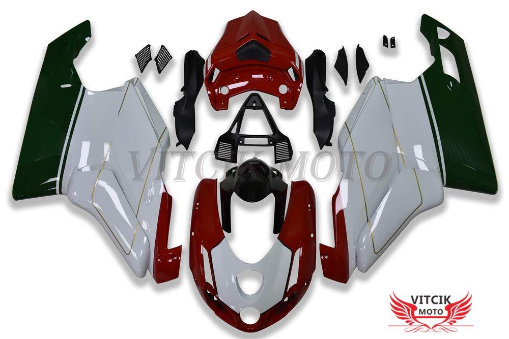 VITCIK (フェアリングキット 対応車種 デュカティ DUCATI 999 749 Monoposto 2003 2004 03 04) プラスチックABS射出成型 完全なオートバイ車体 アフターマーケット車体フレーム 外装パーツセット(レッド & ホワイト) A030   B07FZ545QV