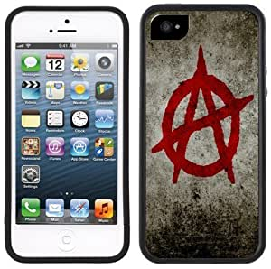 Anarchy Logo Handmade iPhone 5 Black Bumper Plastic Case
