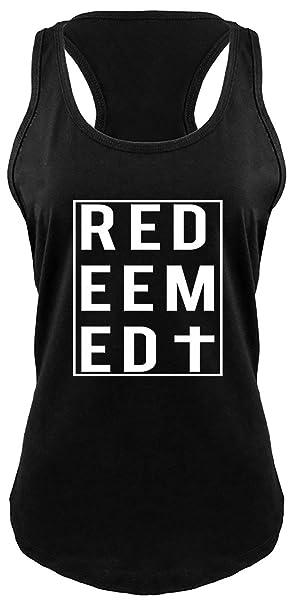 a30e857f Comical Shirt Ladies Racerback Tank Redeemed Christian Religious Cross Tee  Black XS