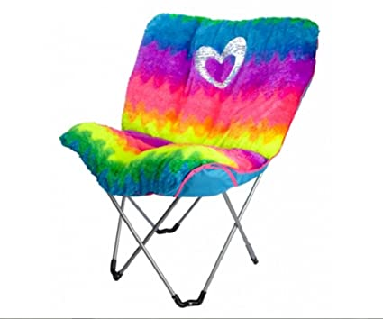 Justice Rainbow Faux Fur Butterfly Chair (Rainbow   Heart   Pink/Blue)