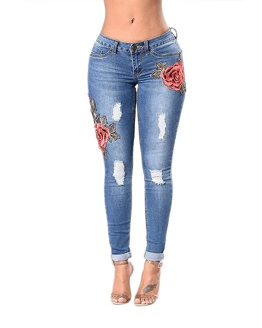 Anyu Vaqueros Bordado Mezclilla Pantalones Jeans Leggins Push Up Pantalones para Mujer