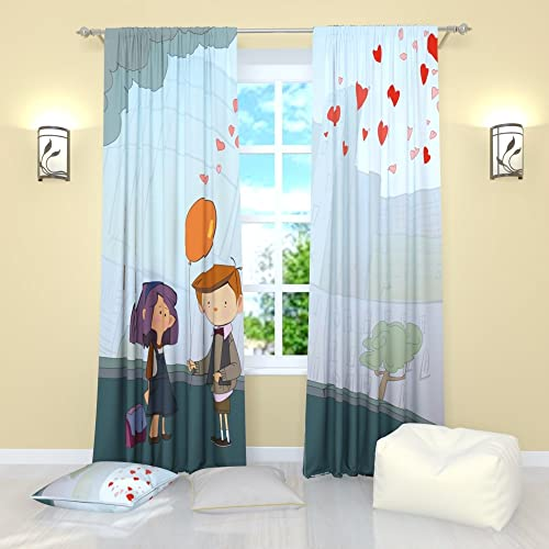 Factory4me Curtains for Kids Room Tender Feeling. Window Curtain Set of 2 Panels Each W52 x L96 Total W104 x L96 inches Drapes for Living Room Bedroom Kitchen