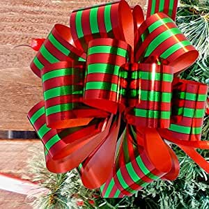 "Metallic Red & Green Striped Christmas Gift Wrap Pull Bows - 5"" Wide, Set of 10"