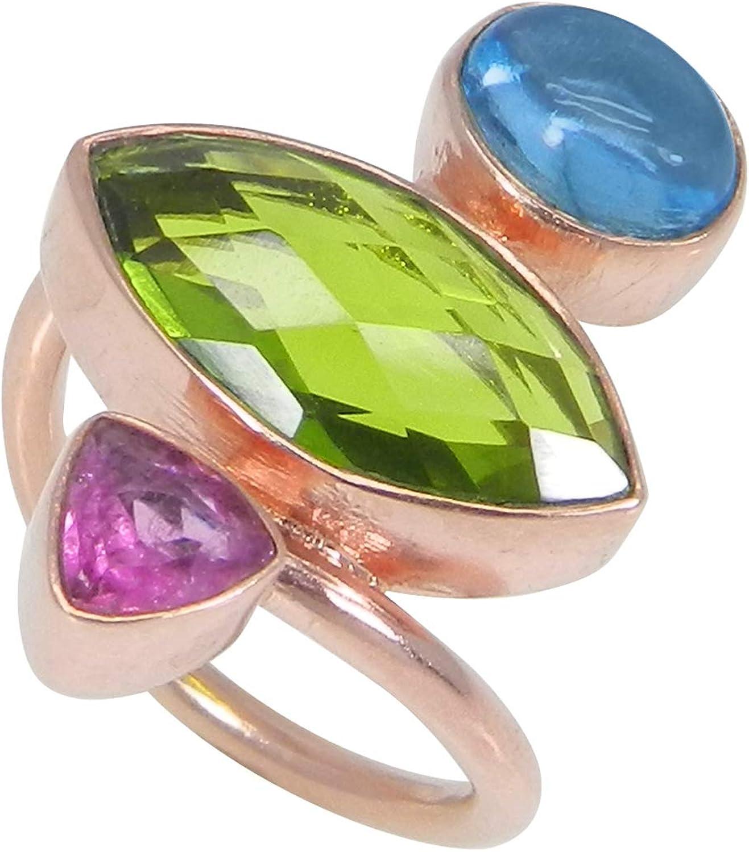 Handmade Gold Plated Brass Ring Double Stone Ring For Women Blue Stone Rings Blue Topaz Designer Gemstone Ring