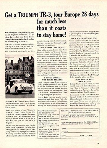 "1960 TRIUMPH TR-3 ROADSTER "" Get a TRIUMPH..., tour Europe.."" VINTAGE NON-COLOR AD - USA - FANTASTIC ORIGINAL !! (SCI460)"