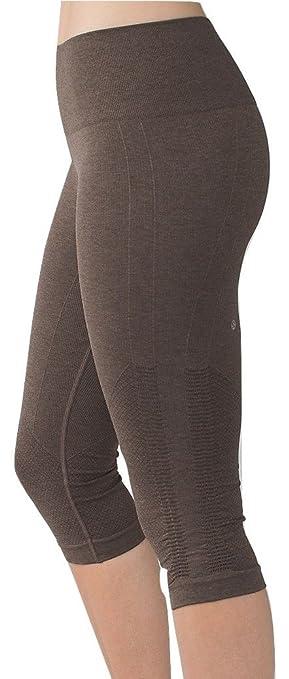 Amazon.com : Lululemon In The Flow Crop Yoga Pants Heathered Bark ...
