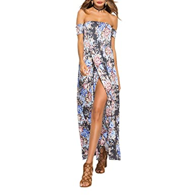 be1e966f523f9 PROKTH Women Bohemian Style Holiday Dress, Summer Off Shoulder ...