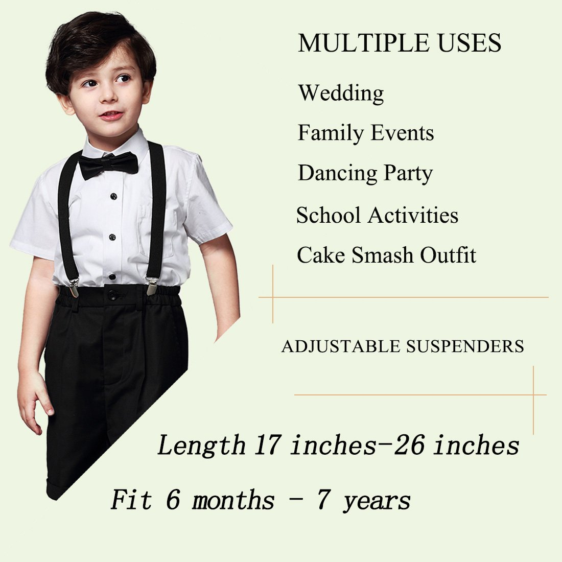 Simple /& Elegant Suspender and Bow Tie Set for Boys Girls Children Red