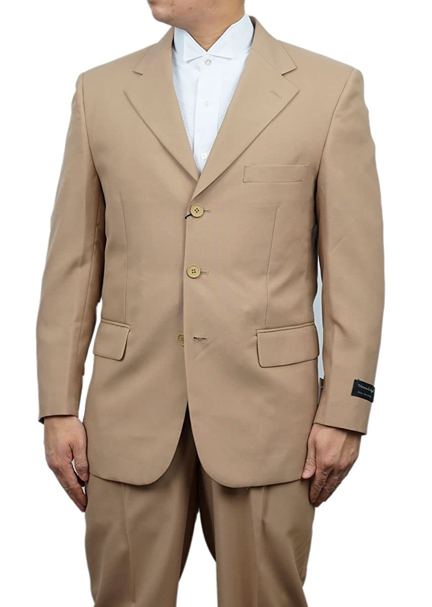 New Era Factory Outlet New Men's 3 Button Single Breasted Tan (Beige) Dress Suit