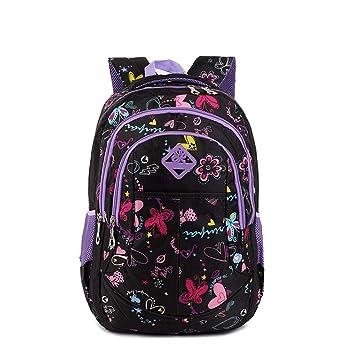 90 Kind M/ädchen Blume Schultasche Rucksack M/ädchen Schmetterling Schatz Muster Wasserdichter Rucksack Casual Daypacks Reisetasche Style-1