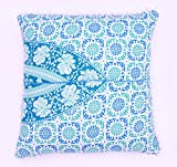Indian 100% Cotton Cushion Cover Meditation Floor Cushion Cover Home Decor Ethnic Pillow Sham Large Pom Pom Lace Square Couch Pillow Cover Outdoor Pillow Cases Euro Sham Pillow Cover Set of 2