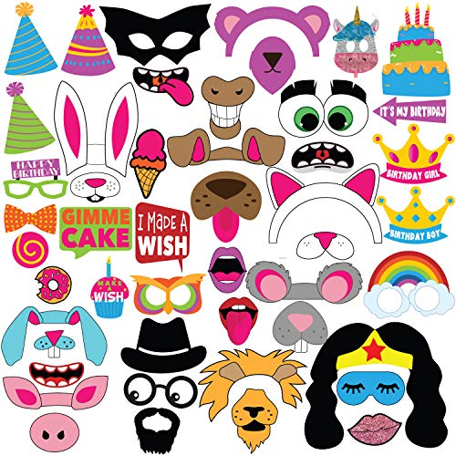 Adorable Kids Birthday Party Photo Booth Props Extra Large Props Signs, Funny Birthday Party Supplies - Popular Social Media Animals & Hero's Emoji Collection - 49 pieces by Fun Party Props]()