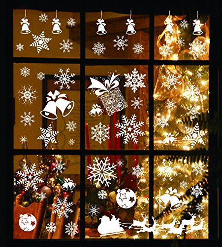Joiedomi 138 PCs Snowflake Window Clings Decal Stickers for Winter Christmas Holiday Home Decorations Ornaments Holiday Party Supplies. Christmas Window Clings